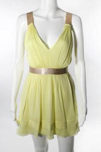 Ruched Satin Trim V-Neck Blouson Dress