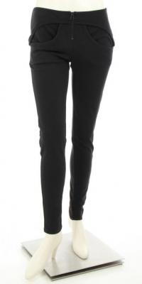 Black Circular Pocket Skinny Leggings Angle1
