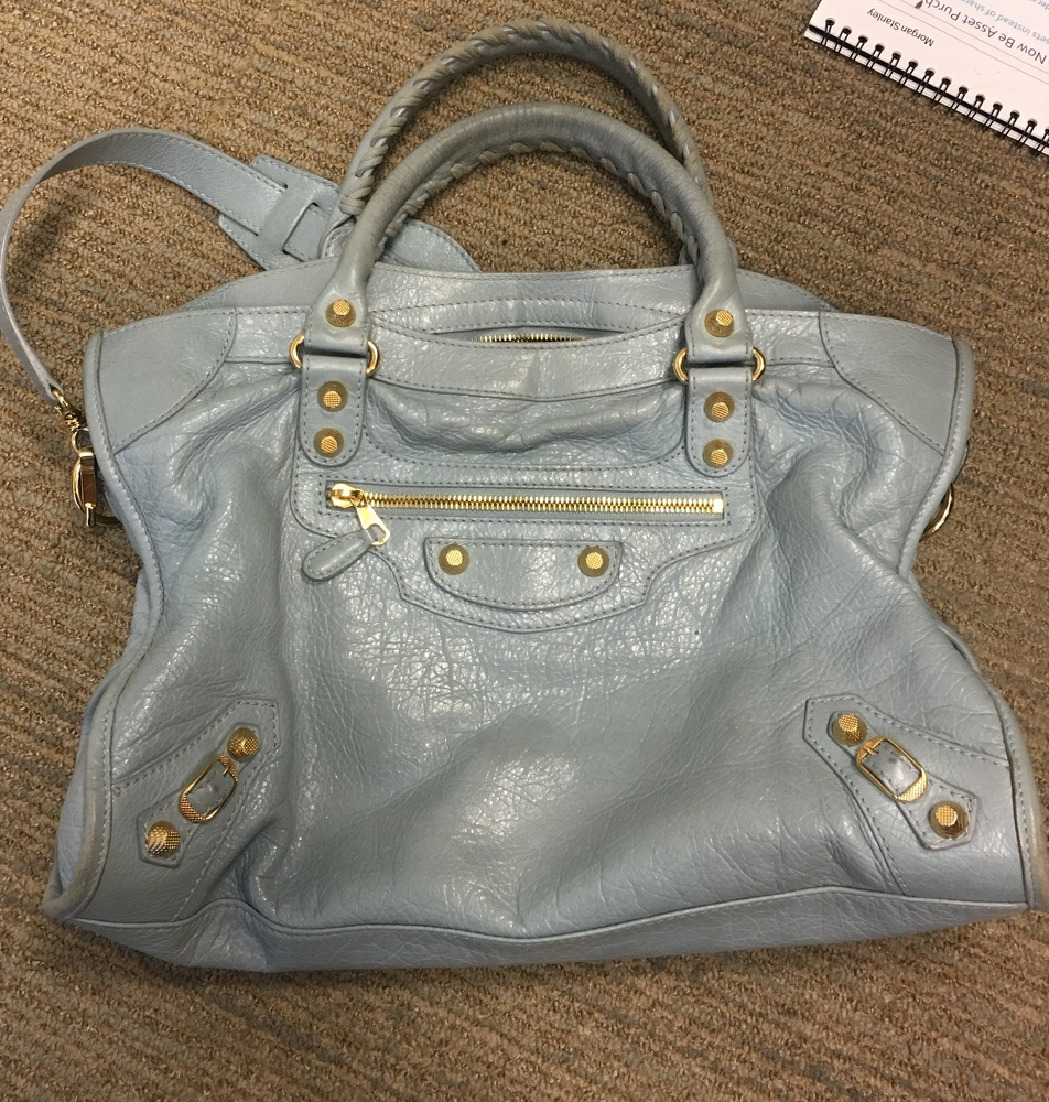 Balenciaga Light Blue Giant 12 City Bag w Gold HW
