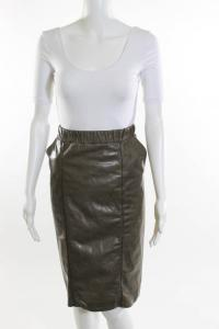 Taupe Leather High Waisted Pencil Skirt