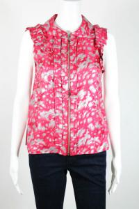 Pink Silver Abstract Print Zip Front Blouse Angle5