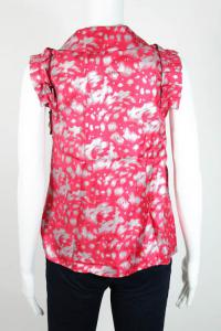 Pink Silver Abstract Print Zip Front Blouse Angle2