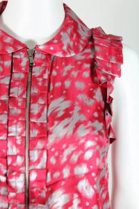 Pink Silver Abstract Print Zip Front Blouse Angle3