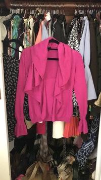 Escada Hot Pink Ruffle Sweater Angle2