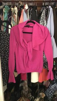 Escada Hot Pink Ruffle Sweater Angle4
