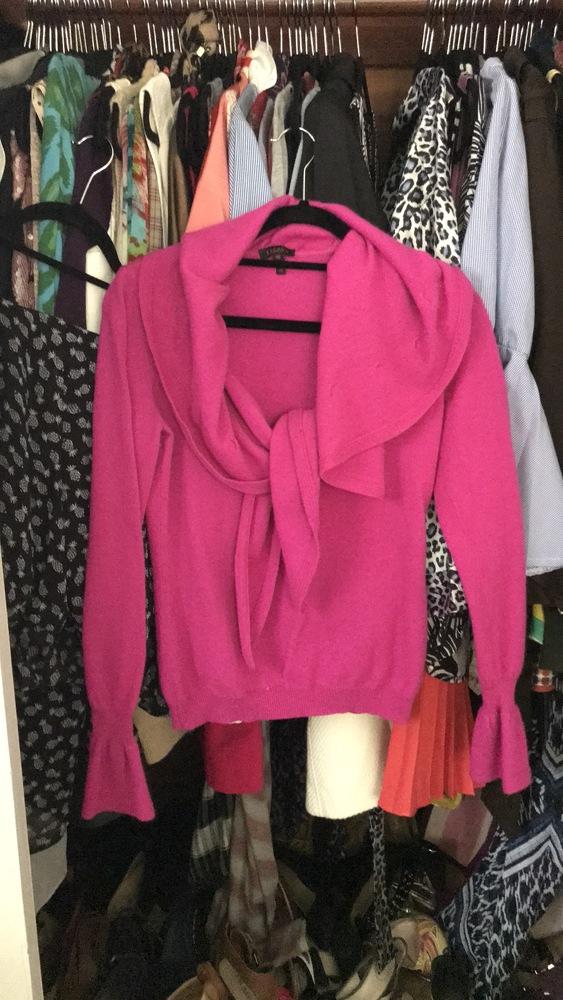 Escada Hot Pink Ruffle Sweater