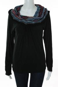 Missoni Black Multicolor Knit Striped Cowl Neck