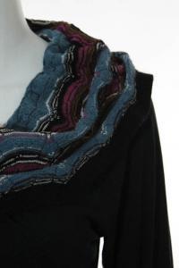 Missoni Black Multicolor Knit Striped Cowl Neck Angle2