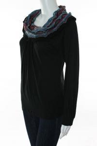 Missoni Black Multicolor Knit Striped Cowl Neck Angle3