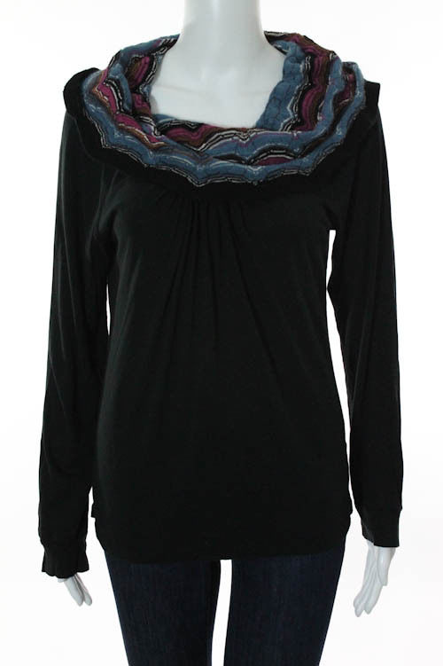 Missoni Black Multicolor Knit Striped Cowl Neck