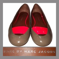Taupe Patent Leather Flats with Pink Accent Band