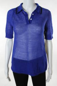 Blue and Black Wool Short Sleeve Polo Shirt