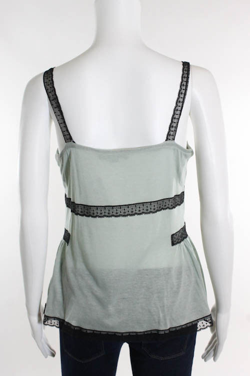 Green Lace Detail Sleeveless Top