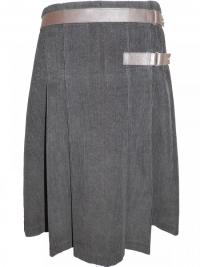 Corduroy Pleated Skirt w/ Leather Tab Detail