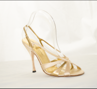 Gold and Tan Heel Sandals