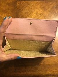 Pink Chanel Quilted Wallet Angle4