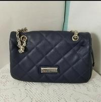 Catherine Malandrino quilted blue leather handbag