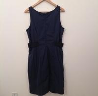 Armani Collezioni Dress Navy Blue Black Sheath Angle5