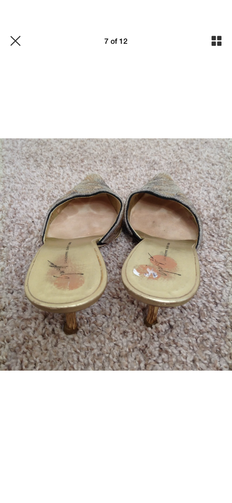 Giuseppe Zanotti Heels Size 5 Gold Beaded Kitten