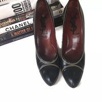 Yves Saint Laurent Heels Pumps 9.5 YSL Leather Angle2