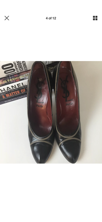 Yves Saint Laurent Heels Pumps 9.5 YSL Leather Angle4