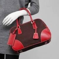 Prada Lockable Canvas Leather Tote Bowler bag
