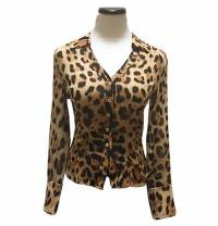100% Silk Leopard Print Sheer Button Up Blouse