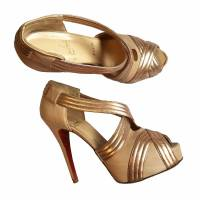 Louboutin gold draped platform lady gres in 6.5 Angle2