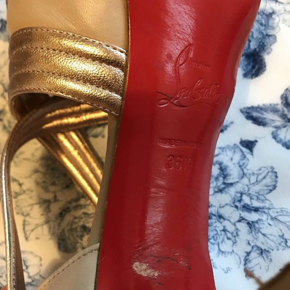 Louboutin gold draped platform lady gres in 6.5