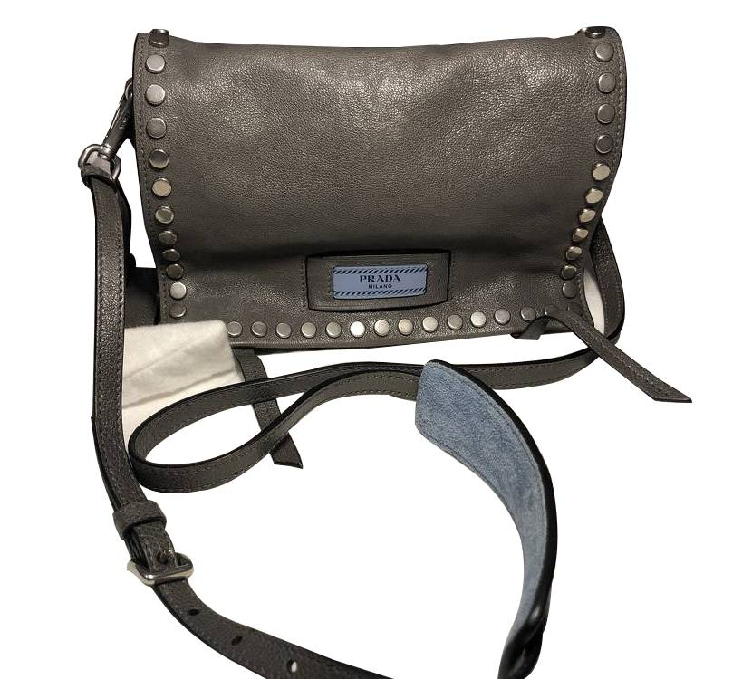 Prada Small studded glaze etiquete leather shoulde
