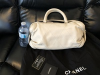 Cream chevron leather Chanel All Day bag  Angle2
