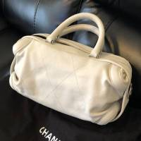 Cream chevron leather Chanel All Day bag  Angle5