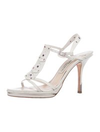 Jimmy Choo White sandals with pink & purple studs