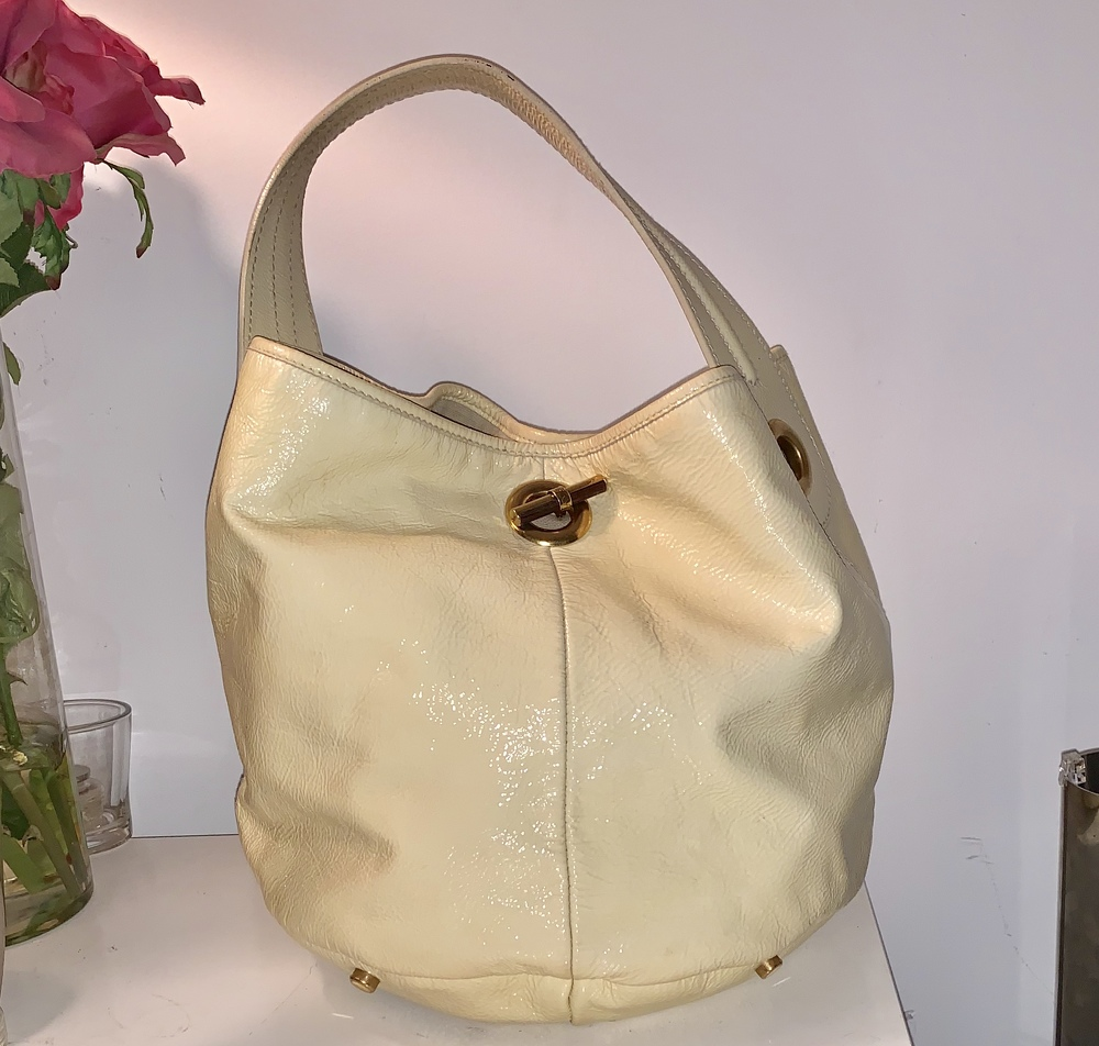 YSL patent leather bucket bag