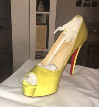 Louboutin lime green satin  peep toe - hot color! Angle2