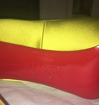 Louboutin lime green satin  peep toe - hot color! Angle10