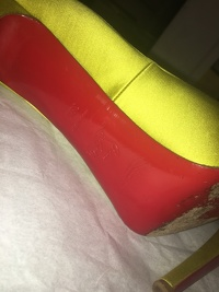 Louboutin lime green satin  peep toe - hot color! Angle11