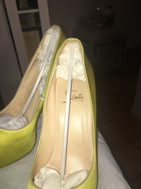 Louboutin lime green satin  peep toe - hot color! Angle12