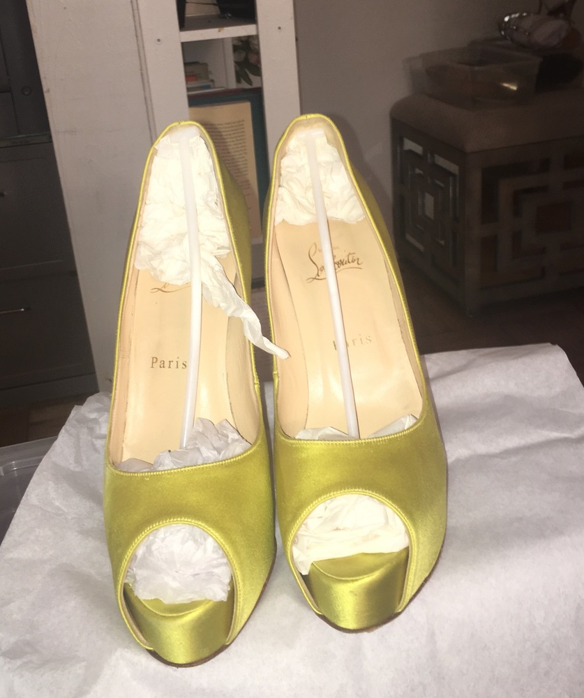 Louboutin lime green satin  peep toe - hot color!