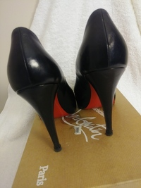 Black leather peep toe covered front platform/ Angle2