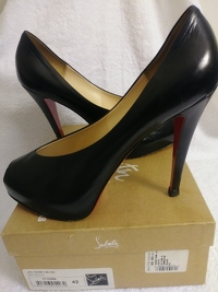 Black leather peep toe covered front platform/ Angle3