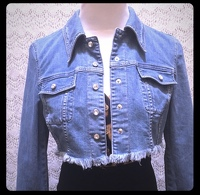 Escada Cropped Denim jacket with bling buttons