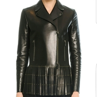 supple leather fringed jacket.
