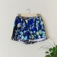 Clover Canyon Printed Blue Mini Shorts