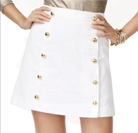 New white denim skirt with gold buttons