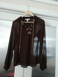 Michael Kors Chiffon Top With Metal Lace Up Front