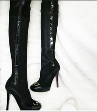 Versace over the knee boots