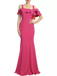 Badgley Mischa Full-length Cold Shoulder Gown