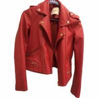 Maje Leather double breasted biker jacket