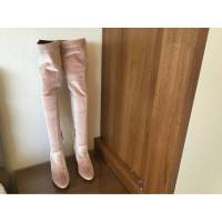 Aquazarra Pale Pink over knee velvet boots Angle4